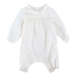 Marie Chantal Ivory Cotton/Wool Romper w/ Embroidered Collar