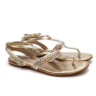 Michael Kors Collection Gold Leather Sandals