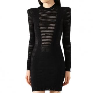 Balmain Black Sheer Striped Distressed Mini Dress