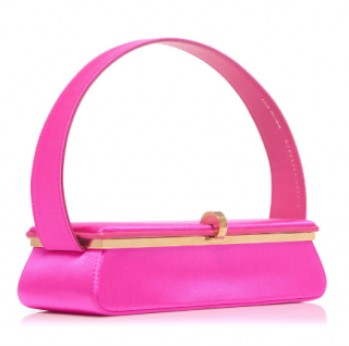 Victoria Beckham Fuchsia Satin Powder Box Top Handle Bag