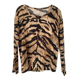 Dolce & Gabbana Animal Print Long Sleeve Top