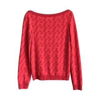 Hermes Red Logo Print Cashmere Jumper