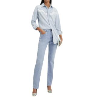 Ganni Blue Fringe Detail Western Shirt