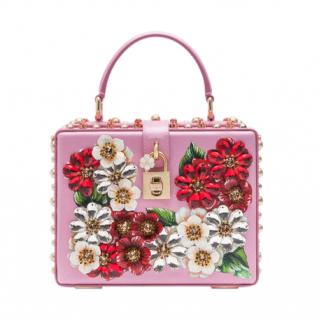 Dolce & Gabbana Pink Floral Applique Box Bag