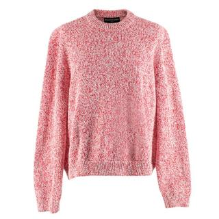 Balenciaga Red and White Cotton Blend Knit Jumper