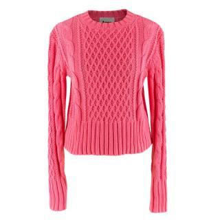 Acne Pink Cotton Lia Cable Knit Jumper