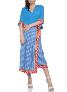 Stella Jean Striped Printed Wrap Skirt