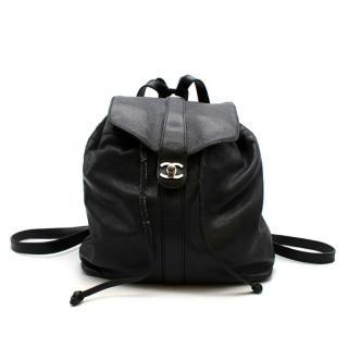 Chanel Black Caviar Calfskin CC Drawstring Backpack