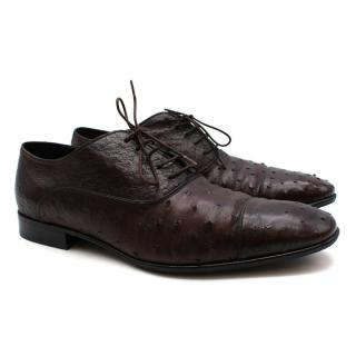 Salvatore Ferragamo Brown Ostrich Lace Up Shoes