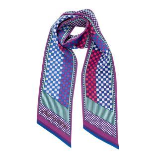 Louis Vuitton Purple & Blue Checkered Silk Bandeau