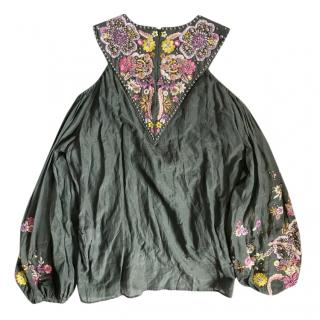 Emilio Pucci Khaki Studded Embroidered Cold-Shoulder Blouse