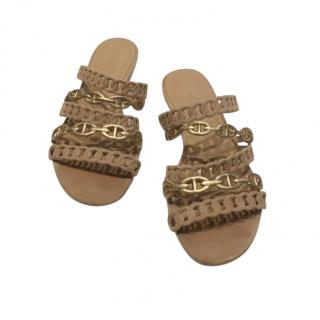Hermes Gold & Beige Thalassa Sandals