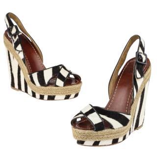 Christian Louboutin Calf Hair Zebra Wedge Sandals