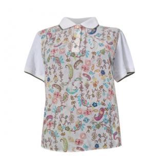 Max Mara Printed Silk & Cotton Polo Shirt