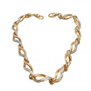 Bespoke 14ct Rose & White Gold Diamond Chain Bracelet