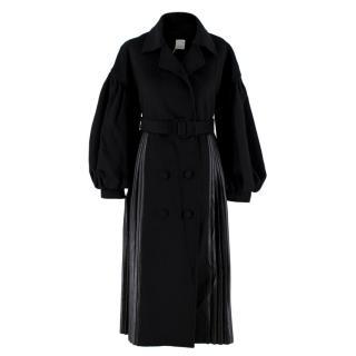 Huishan Zhang Black Pleated Faux Leather Puff Sleeve Coat