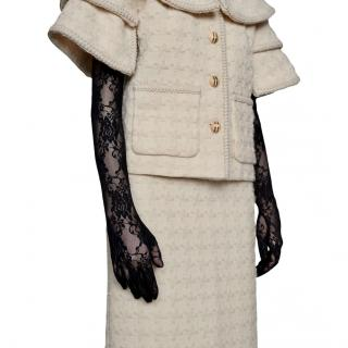 Gucci long black floral lace gloves