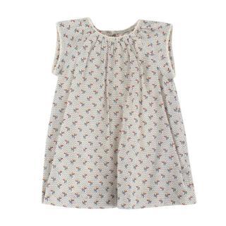 Bonpoint Beige Cotton Floral Pattern Lace Trim Dress