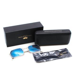 David Marc Silver S-R Blue Gradient Geometric Sunglasses
