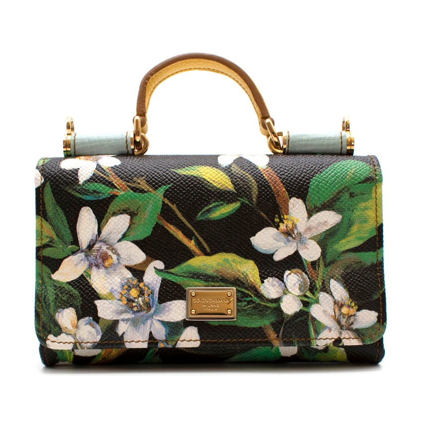 Dolce & Gabbana Black & Green Floral Leather Sicily Von Bag