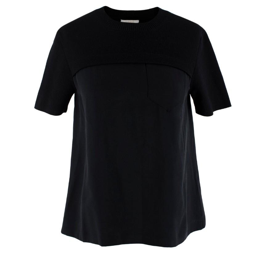 Chloe Black Wool & Silk Short Sleeve Top