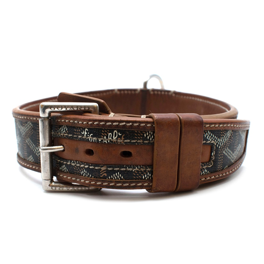 Goyard Brown Goyardine Canvas & Leather Dog Collar