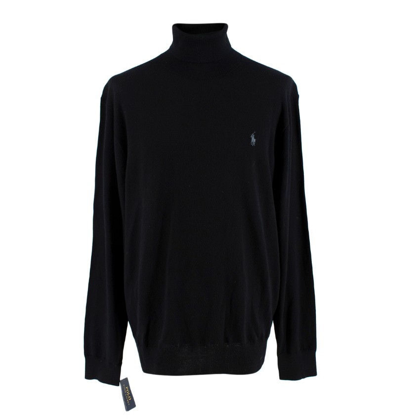 Polo Ralph Lauren Black Wool Knit Turtleneck Jumper
