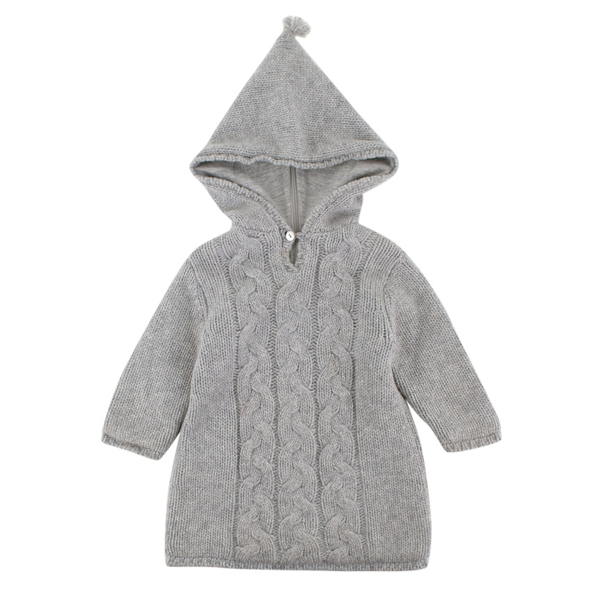 Bonpoint Grey Cashmere Cable Knit Hooded Sweater