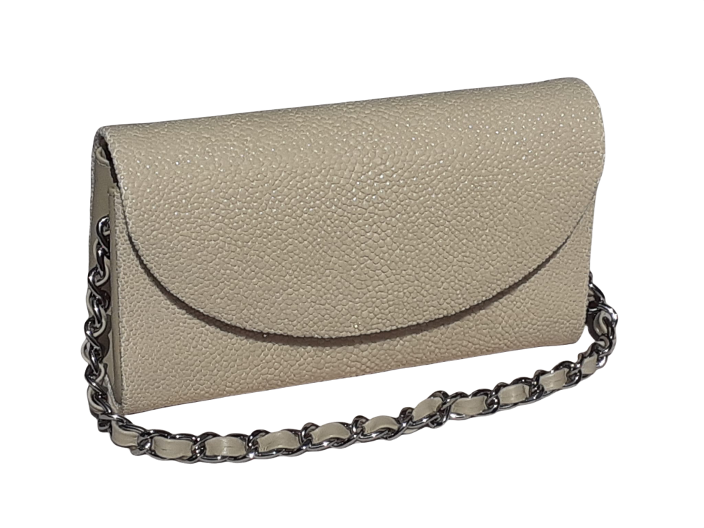 Hidetoshi Beige Stingray Chain Bag