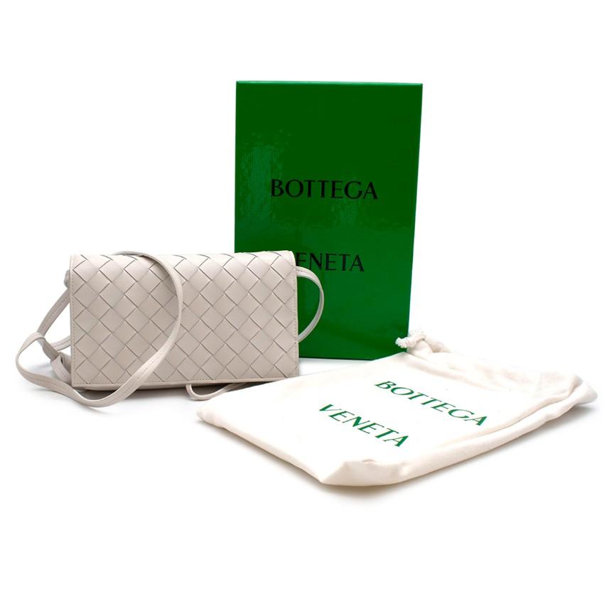 Bottega Veneta White Leather Intrecciato Flap Crossbody Bag