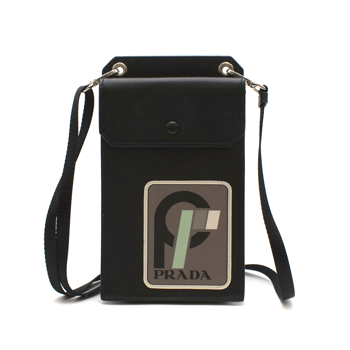 Prada Runway Black Saffiano Leather Smartphone Case