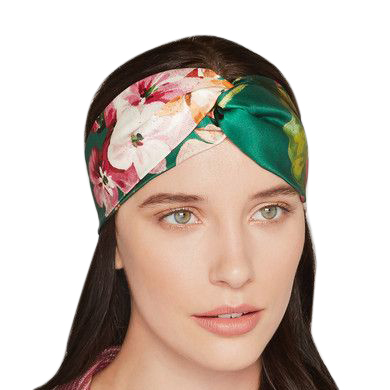 Gucci Green Floral-print duchesse-silk headband