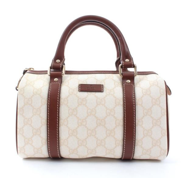 Gucci Beige Monogram Leather Trim Canvas Boston Bag