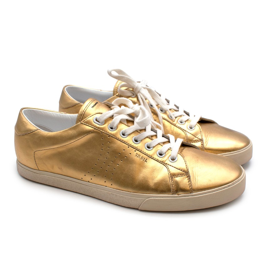 Celine Gold Leather Low-Top Triomphe Sneakers
