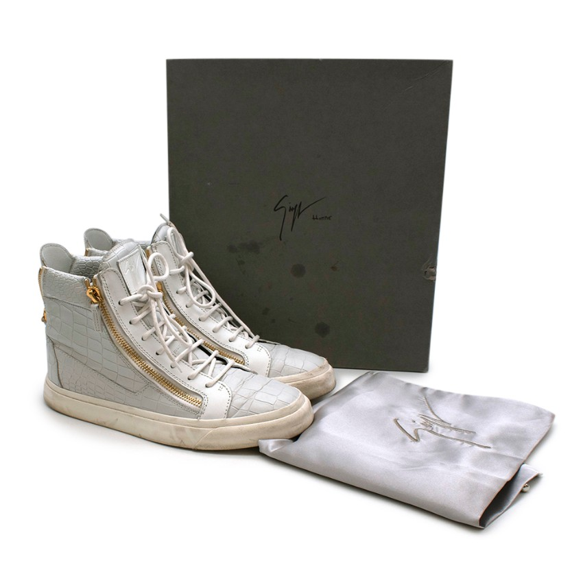 Giuseppe Zanotti Croc Embossed Leather High-top Sneakers