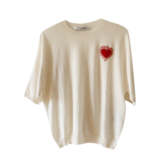 Dior Ivory Heart Embroidered Cashmere & Silk Sweater