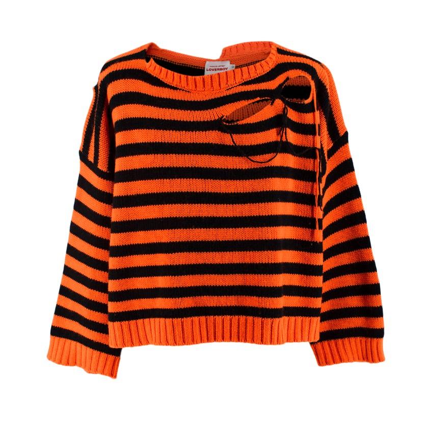 Charles Jeffrey Loverboy men's slashed striped sweater
