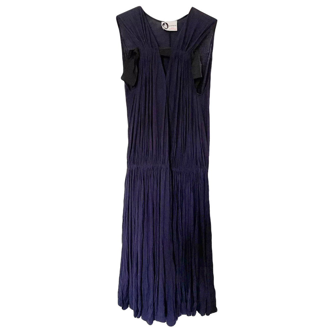 Lanvin Navy Blue Pleated jersey Sleeveless Dress