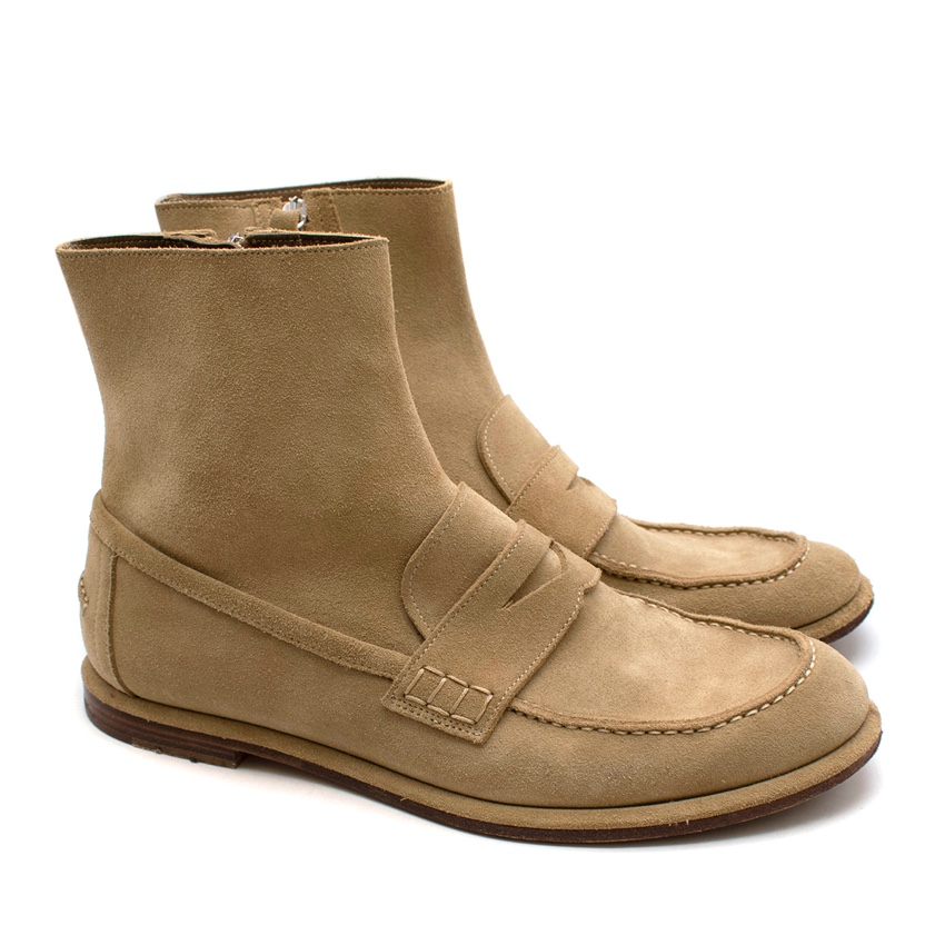 Loewe Cream Suede Loafer Boots