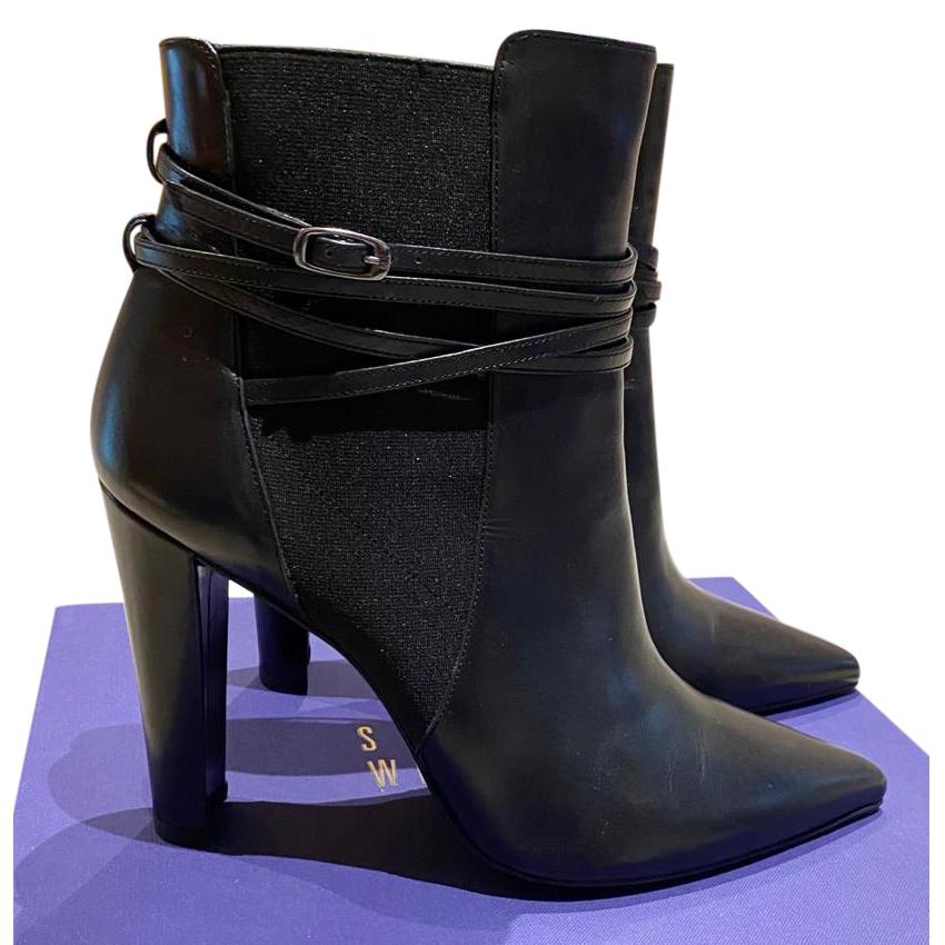Stuart Weitzman Black Leather Heeled Ankle Boots