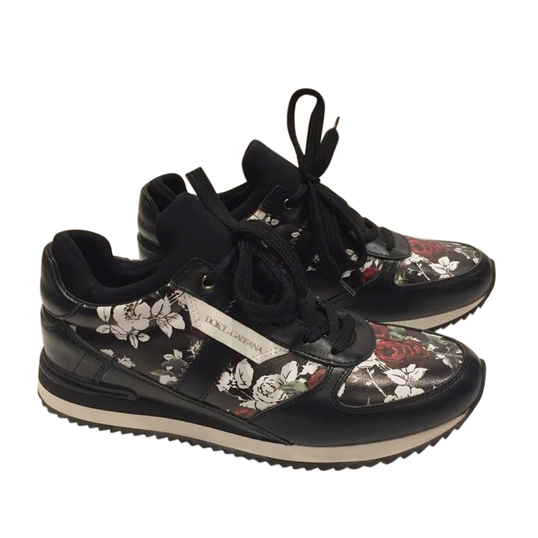 Dolce & Gabbana Black Rose Print Sneakers