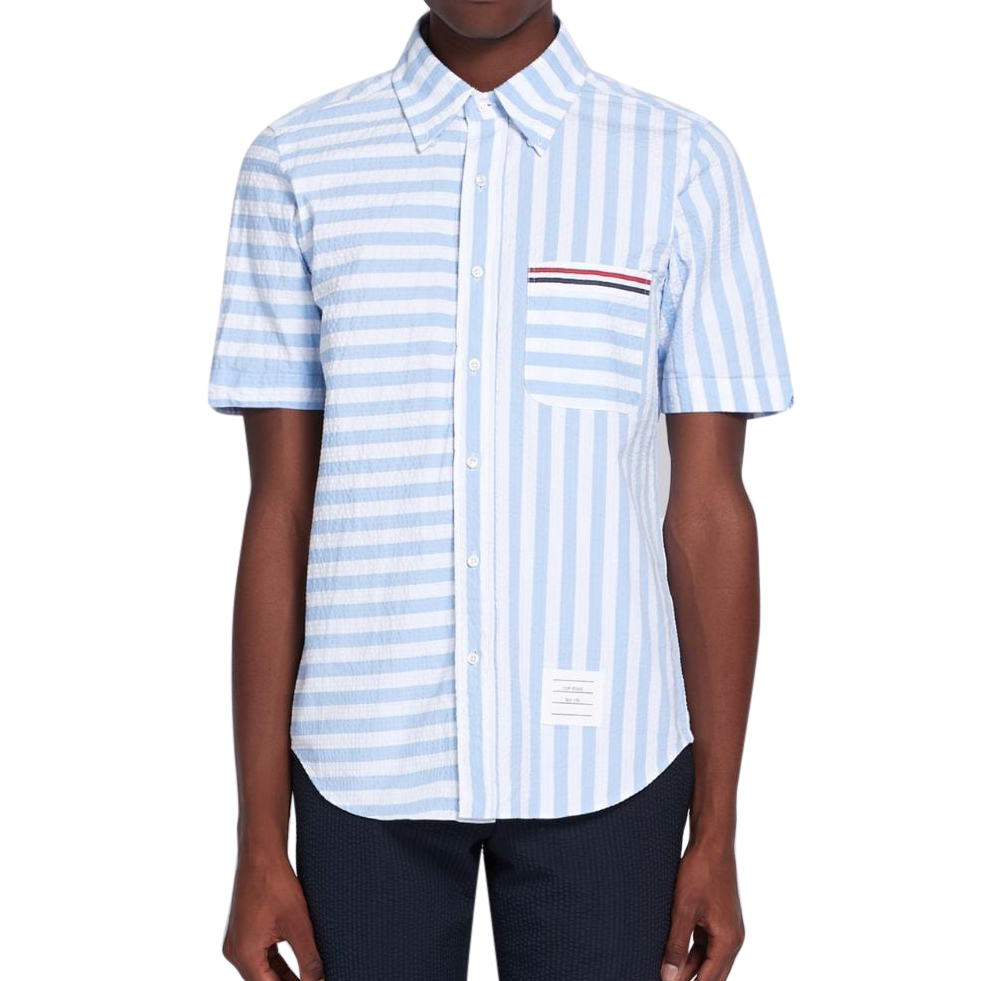 Thom Browne Blue Striped Textured Cotton Short Sleeve Shirt