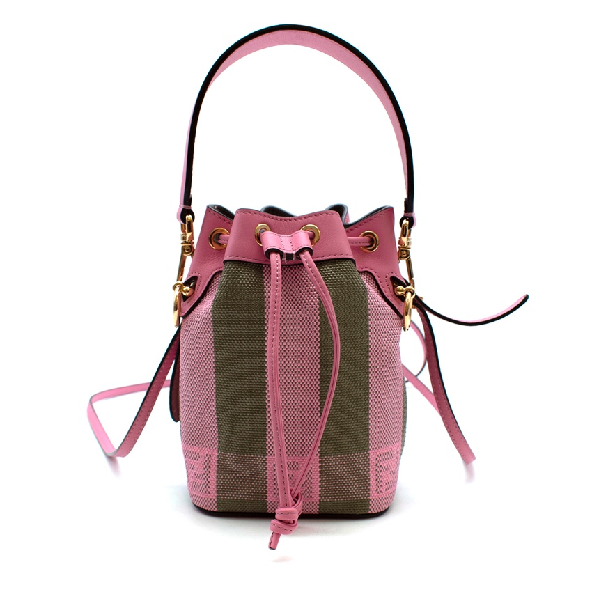 Fendi Pink & Green Canvas & Leather FF Mon Tresor Mini Bucket Bag