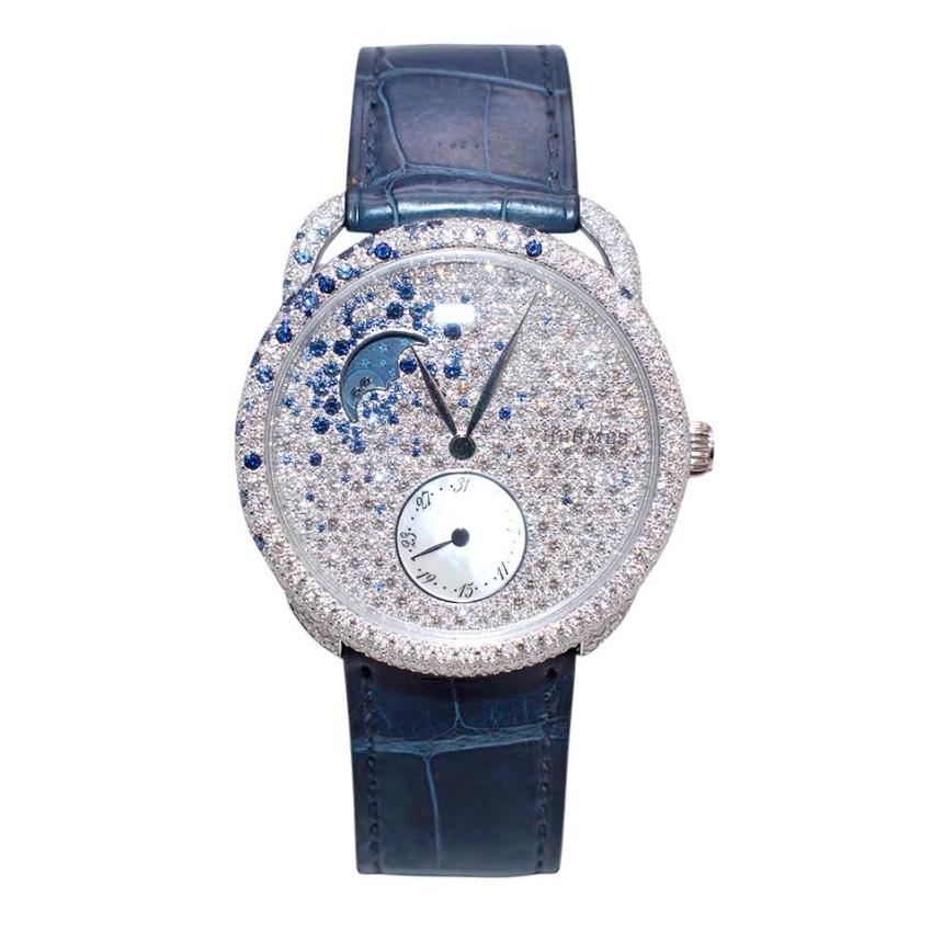 Herm�s Arceau Petite Lune Watch with Sapphires & Diamonds - 38mm
