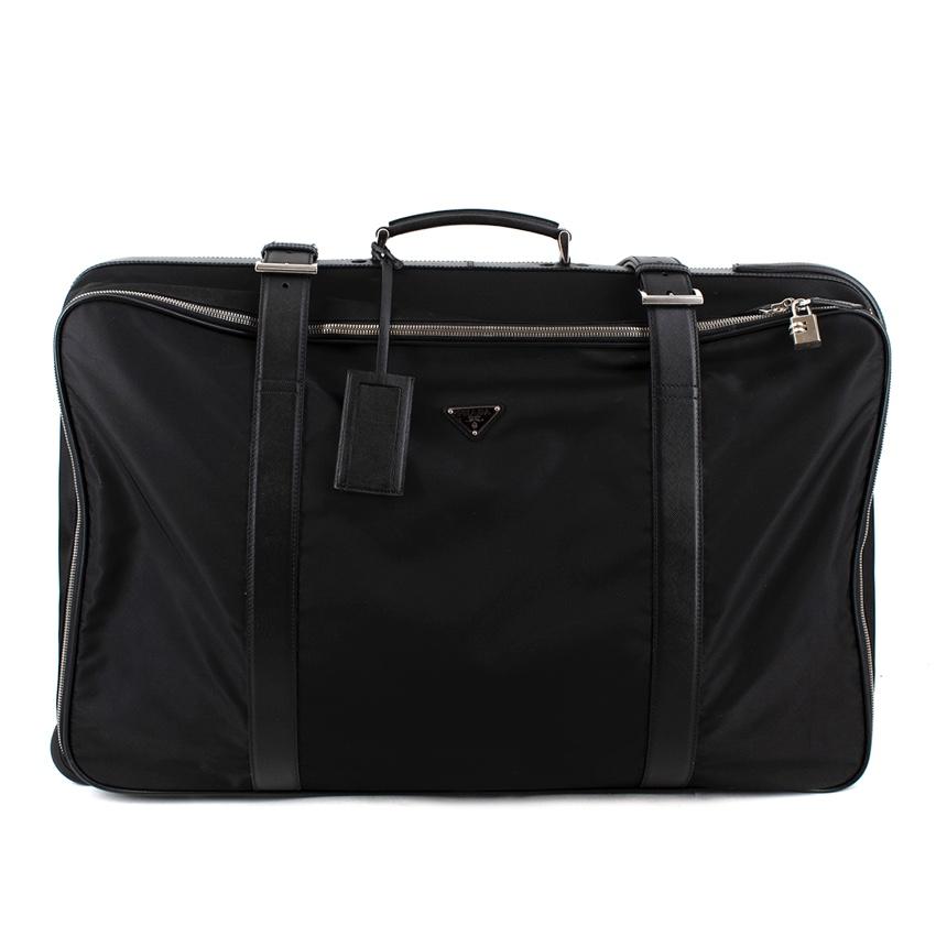 Prada Black Nylon & Saffiano Leather Semi-Rigid Suitcase