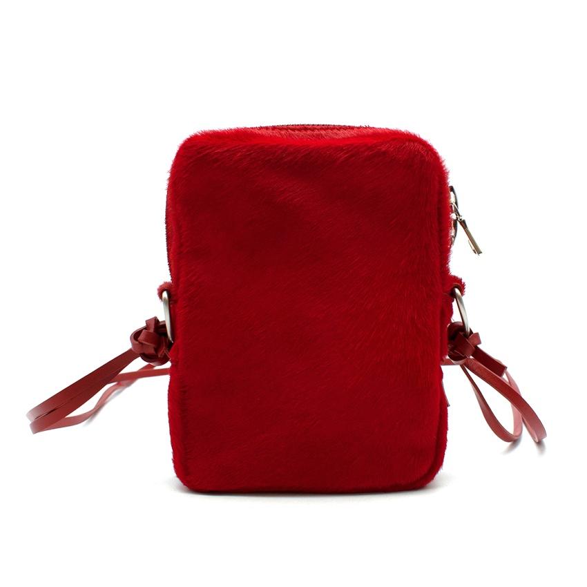 Our Legacy Red Pony Hair Delay Mini Crossbody Bag