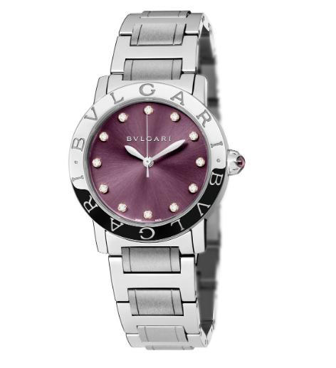 Bvlgari Stainless Steel Diamond Purple Satine 33mm Ladies Wrist Watch