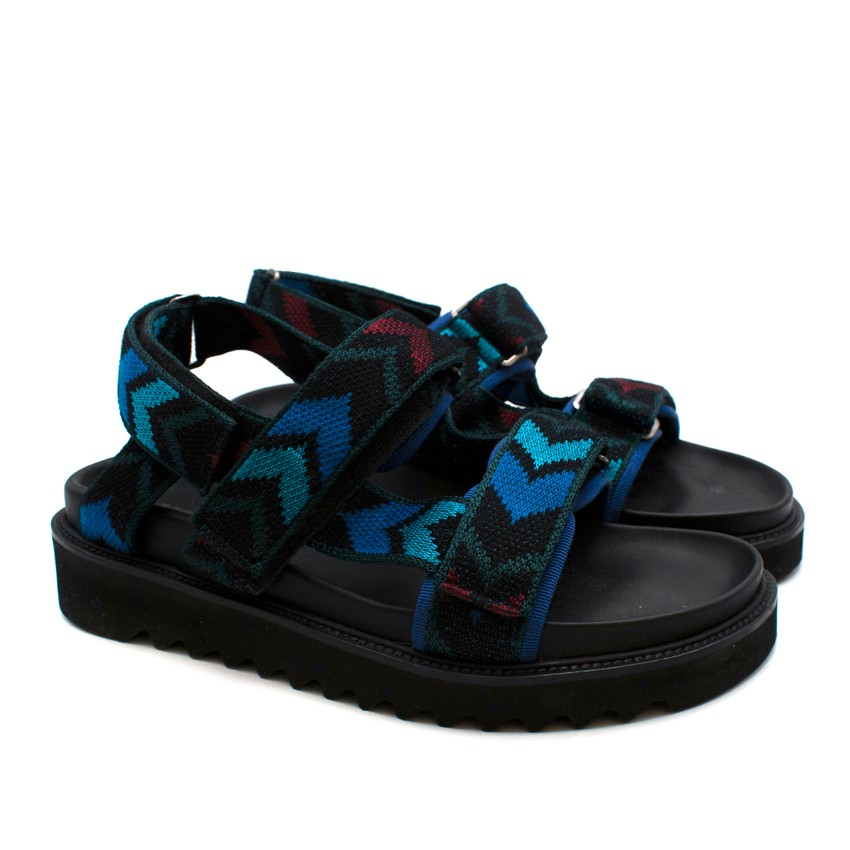 Missoni Black Patterned Strap Ridged Heel Sandals