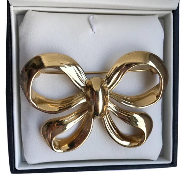 Yves Saint Laurent Vintage Gold Tone Bow Brooch