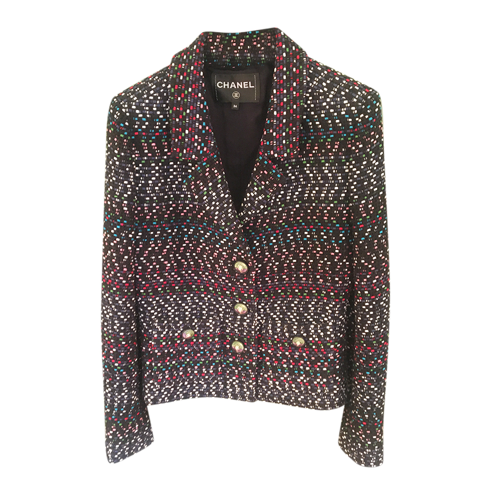 Chanel Black Woven Multicolour Tweed Tailored Jacket